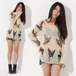 Tops 2013 New Fashion Gradient Sale The Knitted Cardigan Women Crochet top Sweater Outerwear Hole Butterfly Pattern Pullover(China (Mainland))