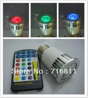 Free shipping 5W Remote Control E27 16 Color RGB LED Bulb with dimmer Light color your life