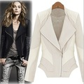 Free shipping 2013 Autumn Women's CoatFashion Street Slanting Lapel Tencel Cotton Patchwork Slim Leather jacket Leather clothing