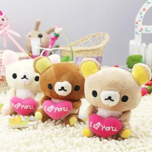 Free Shipping Wholesale 50pcs/lot 7cm Plush Stuffed Teddy Toys Hang Bag Phone Accessories Flower Bouquet Bear Figure