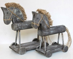 zakka Hand made Wood old gary wheel wooden horse hobbyhorse office home decoration gift Photography props 2pcs/set(China (Mainland))