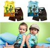 Free shipping Retail summer clothes twinset male children&#39;s boy clothing set sleeveless shorts coconut tree two-piece suit
