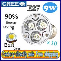 Factory directly sale 10pcs/lot CREE Bulb led bulb E27 9w 3x3W 110V 220V Dimmable led Light led lamp spotlight free shipping
