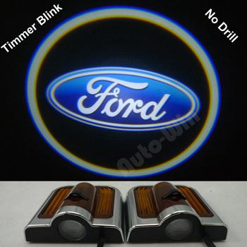 No Drill type Car LED door lights for ford led logo light Decoration door prejection welcome light with timer blink 7th Gen