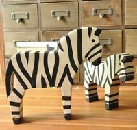 zakka Hand made Wood zebra office home decoration gift  Photography props 2pcs/set