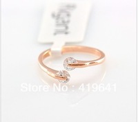 free   shipping  Plated 18K rose gold ring inlaid jewelry Hearts