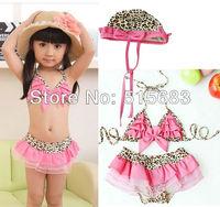 Retail Free Shipping Girls Kids Pink/Leopard Bow Lovely Swimwear Tankini Swimsuit Bikini S2-8Y Surfing Bathing Pool