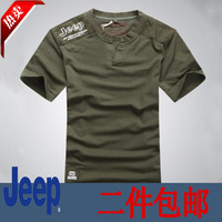 free shipping 2 13 male short-sleeve T-shirt male fashion 100% cotton v-neck T-shirt male plus size loose casual wear male