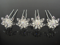 Min Order $10 (mixed order) Retail Delicate Pretty Wedding Bridal Crystal Flower Hair Pin Hair Clip(China (Mainland))