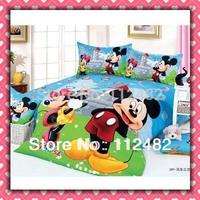 Free Shipping Cartoon Cotton children 3pcs Bedding Set The Windmill Mickey Mouse Kids