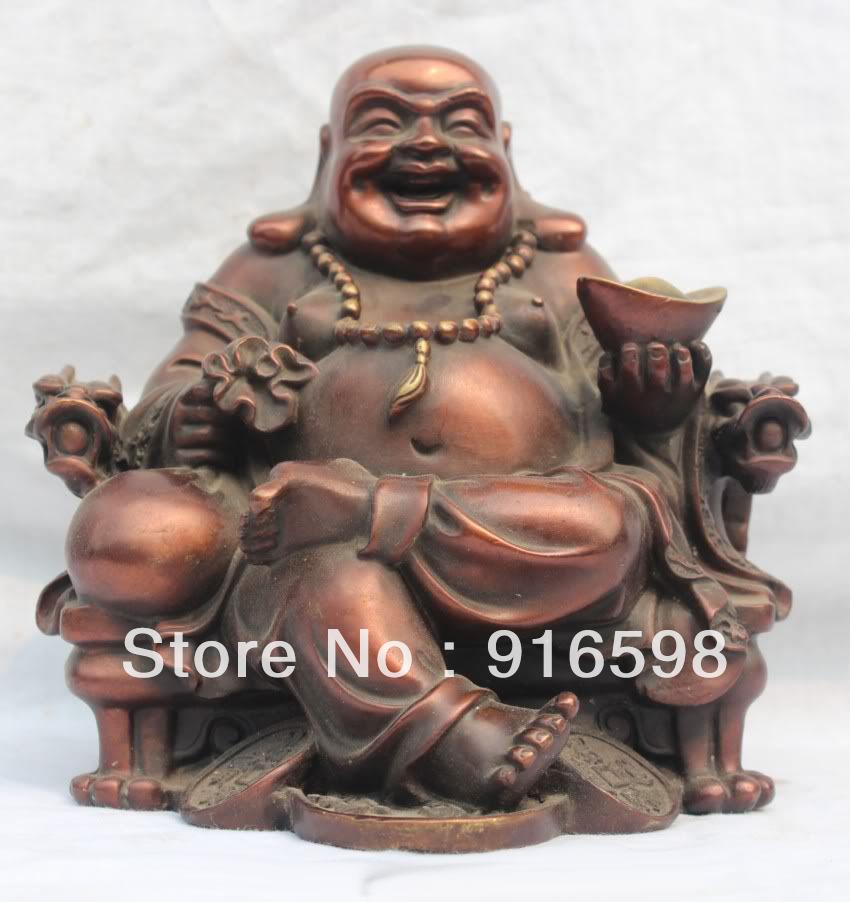 China Chinese Pure Bronze Happy Laugh Maitreya Buddha Site Dragon Chair Statue AAA(China (Mainland))