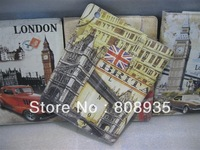 Retro Style big ben london bridge eiffel tower Stand PU Leather Case For apple ipad for ipad 4 / 2 / 3 Free shipping 10pcs/lot