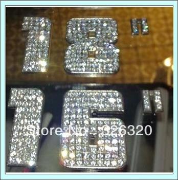 SDXZSZ-001   Number Diamond Car Sticker  Metal Material A Grade Diamond 3M Sticker