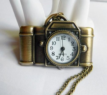 Fashion camera Pocket Watch Necklace retro jewelry wholesale