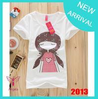 Hot sale!!! Free Shipping 2014 Fashion Good Quality Cotton T Shirt Women Tops Round T-shirts tee shirts for women TS-031-4
