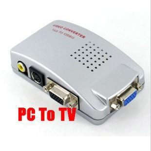 PC Laptop VGA to RCA AV TV Monitor S-Video Signal Converter Adapter Switch Box(China (Mainland))