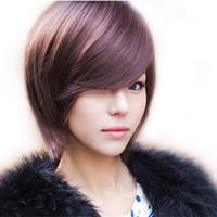 EleDigit Wig handsome fluffy short straight wig stubbiness female elegant repair Free shipping