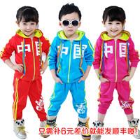 2013 spring boys clothing girls clothing child casual sportswear baby 100% cotton cardigan sports set
