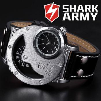 Shark exército aço inoxidável de tamanho grande grande caixa Dual Time pulseira de couro Montres Hommes Relogio Men Quartz militar assista / SAW053