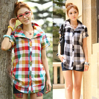 Autumn women's short-sleeve shirt short-sleeve casual plaid shirt female plus size clothing shirt