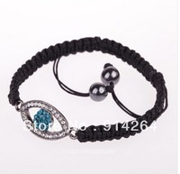 Blue Eye sideways silver Glass crystal rhinestone Evil Eye Charm Bangle Bracelet