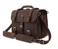 Vintage 100% Genuine real leather  Men buiness handbag  laptop briefcase  shoulder Travel bag  / man  messenger   JMD7072B-660