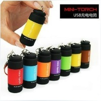 Free Ship Wholesale Rechargable Mini USB Led Torch Emergency Light Flashlight waterproof ABS cover Christmas Gifts 10pcs/Lot