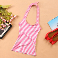 free shipping Female lacing vest halter-neck shoulder strap vest small vest stripe spaghetti strap