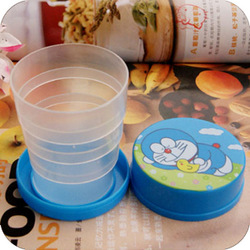 Portable cartoon retractable portable plastic cup child cup folding 0030(China (Mainland))