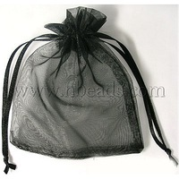 Organza Gift Bags,  Black,  about 10cm wide,  12cm long