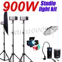 Free Shipping 900W GODOX 3*300Ws 300W 300DI Studio Strobe Photo Flash Light Softbox Reflector Kit