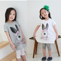 2013 Summer new arrival children's clothing wholesale girls cartoon Cute Bunny T-shirt Free shipping