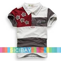 Boys Short Sleeve Tops Turn-Down Collar Fashion T-Shirt, Free Shipping K0463