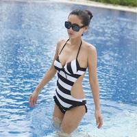Swimwear Female Sexy Swimwears Small Bust Push Up Steel Pro Stripe One-Piece Swimsuit Hot Springs Leopard Printing Swimsuirts
