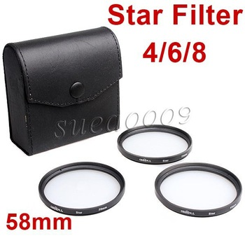 58mm 58 Star Filter 4 6 8 Point line Kit with Case Bag for Canon Nikon Pentax Camera F04