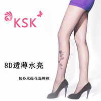 Sexy t pantyhose ultra-thin seamless black wire socks rose jacquard socks