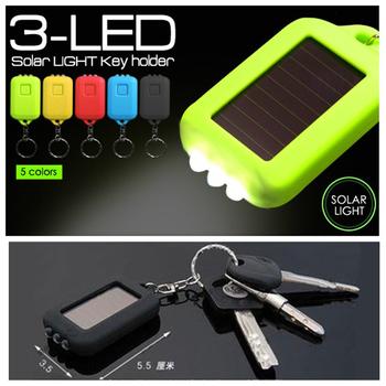 Wholesale free ship CE solar key led light,3 LED flash light solar rechargeable,Mini led torch light keyring,portable key light
