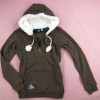 2013 Free Shipping Original Women thermal half zipper pullover with a hood sweatshirt cd4-c188