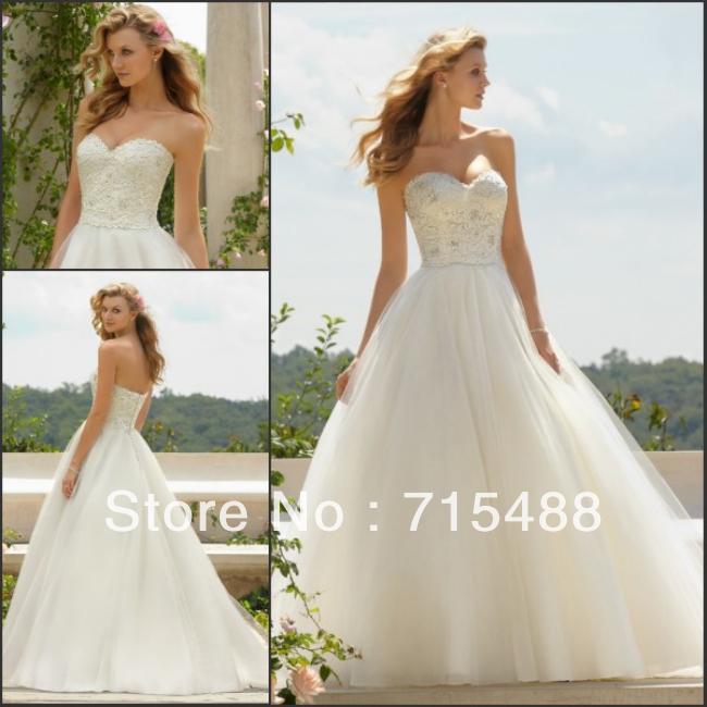 Wedding Dresses  Aliexpress : Ball gown a line lace bodice turkish wedding dresses g