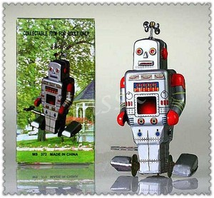Wind Up Metal Walking Robot Tin Toy Clockwork Mechanical Gift Vintage E1029(China (Mainland))