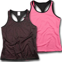 Hydroscopic women's quick dry fit design faux two piece reversible sports vest ca3-c692