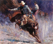 Canvas Prints (Clement Kwan) Whalesale wall art high quality oil painting picture Cowboy and horse prints on canvas Western-157(China (Mainland))