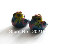 50pcs/lot Mandarin duck Beads Ceramic Porcelain Beads Charms Loose Braclelet Beads Jewelry Accessories