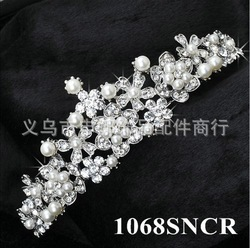 2013 1068 hot sell Wedding Bridal headdress jewelry accessories Crystals Crown Women pearl Tiaras headdress(China (Mainland))