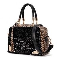 Free shipping!2013 hot new leopard sequined bag fashion shoulder bag Mobile Messenger bag fashion women handbags tide package