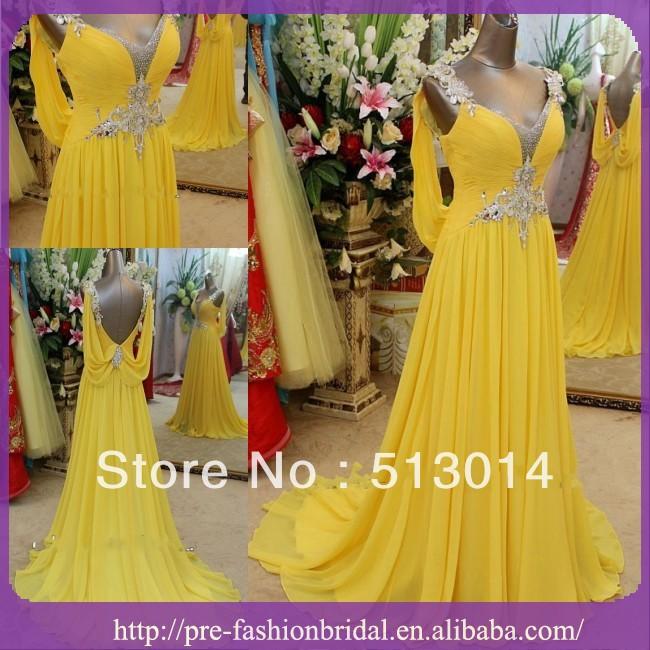 Latest Floral Spaghetti Strap Yellow Chiffon Floor Length Real Sample New Evening Dress(China (Mainland))