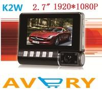 "Wholesale  Newest Arrivals K2W super-mini Full HD car DVR.1920*1080P lights 2.7""  TFT LCD 4 times zoom Free shipping"