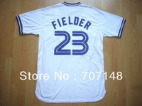 Throwback Jersey Blue Jays #23 Cecil Fielder White Color Size:48-56 -Free Shipping