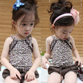 Free Shipping, 2013 summer fashion leopard print girls clothing baby child vest shorts set tz-0407