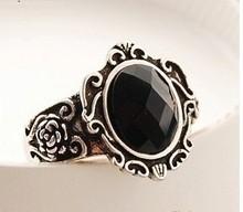 30pcs vintage white carve patterns designs  woodwork black mirror finger ring rings jewelry yiyi11